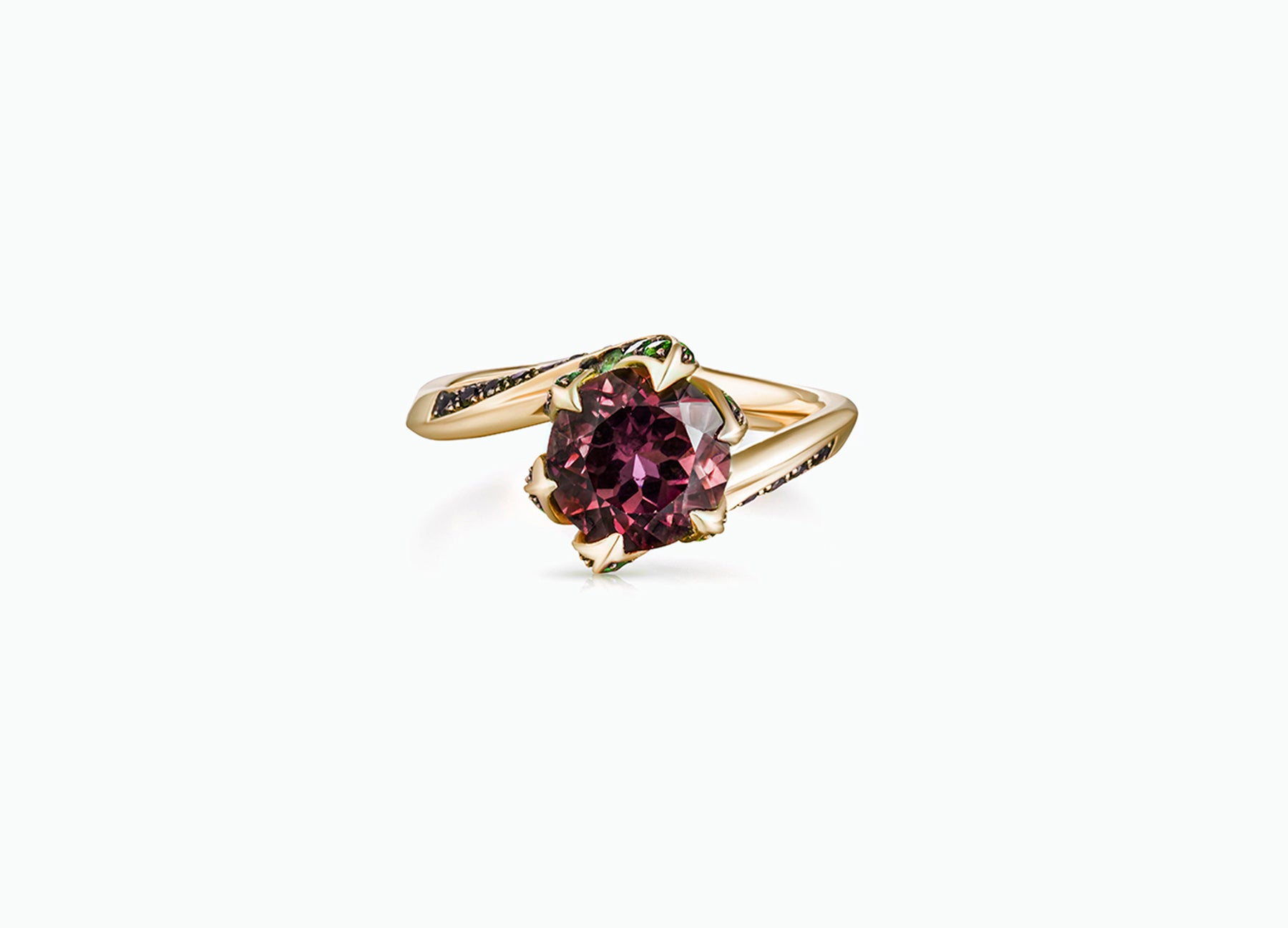 Lily Pad engagement ring in 18K yellow gold set with a rubellite tourmaline centre stone front view