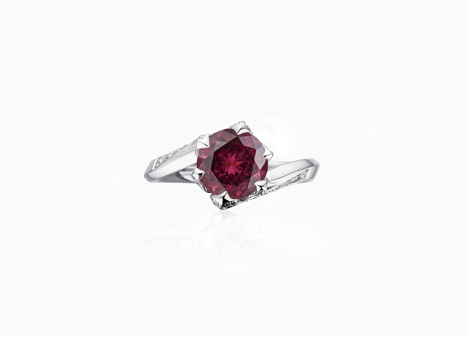 RUBELLITE AND DIAMOND LILY PAD RING