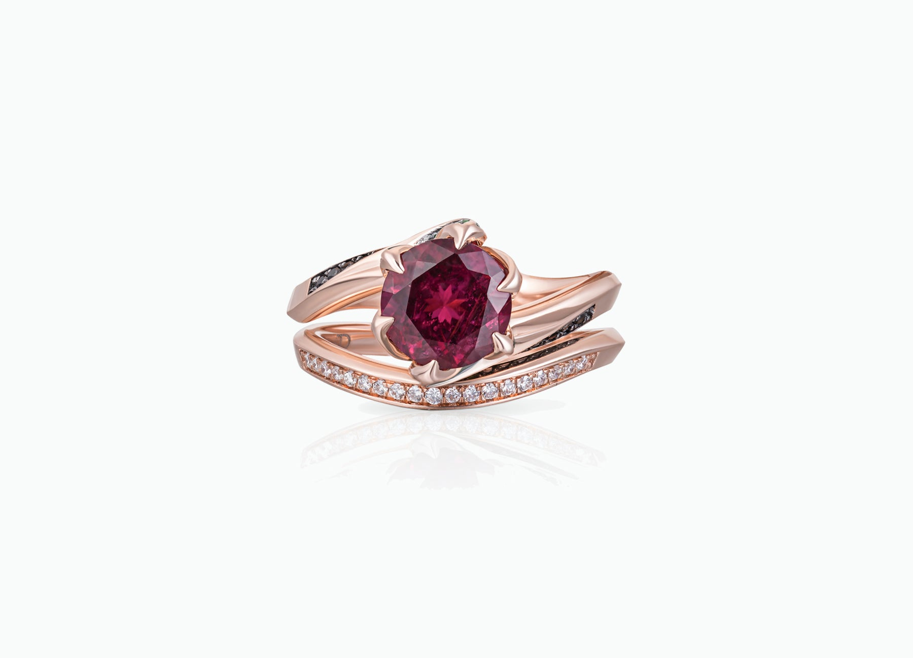 RUBELLITE LILY PAD RING