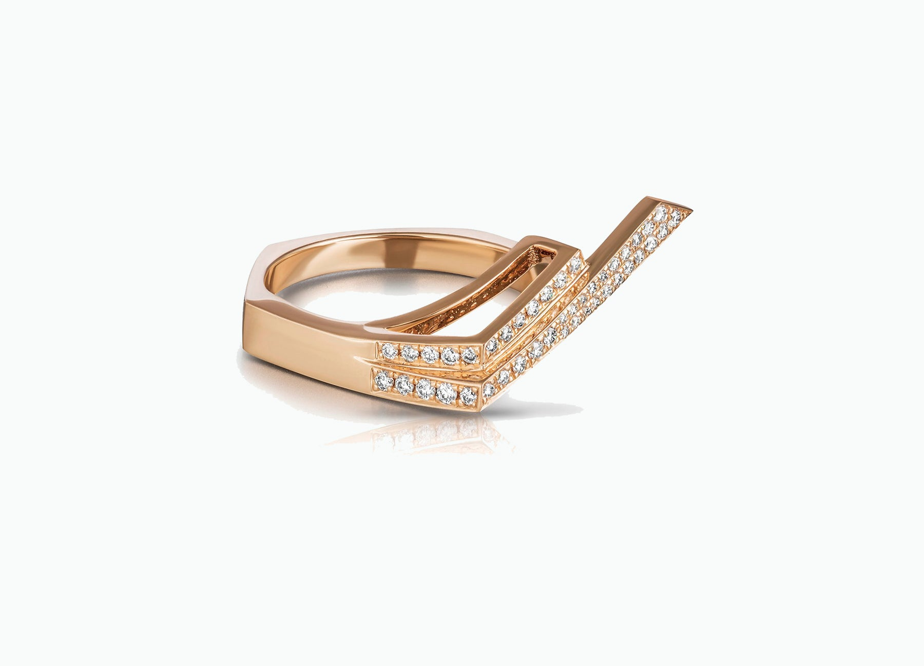 MINI STELLAR ROSE GOLD RAY RING