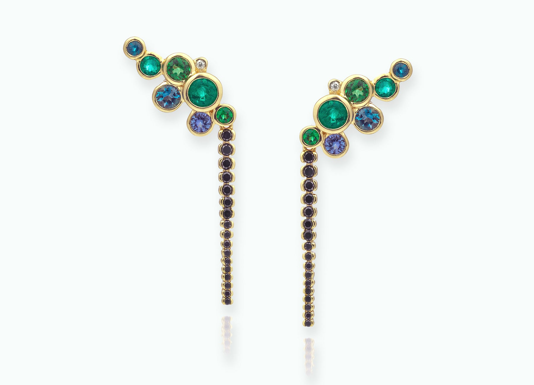 EMERALD BUBBLE EARRINGS WITH BLACK DIAMOND EXTENSION DROPS