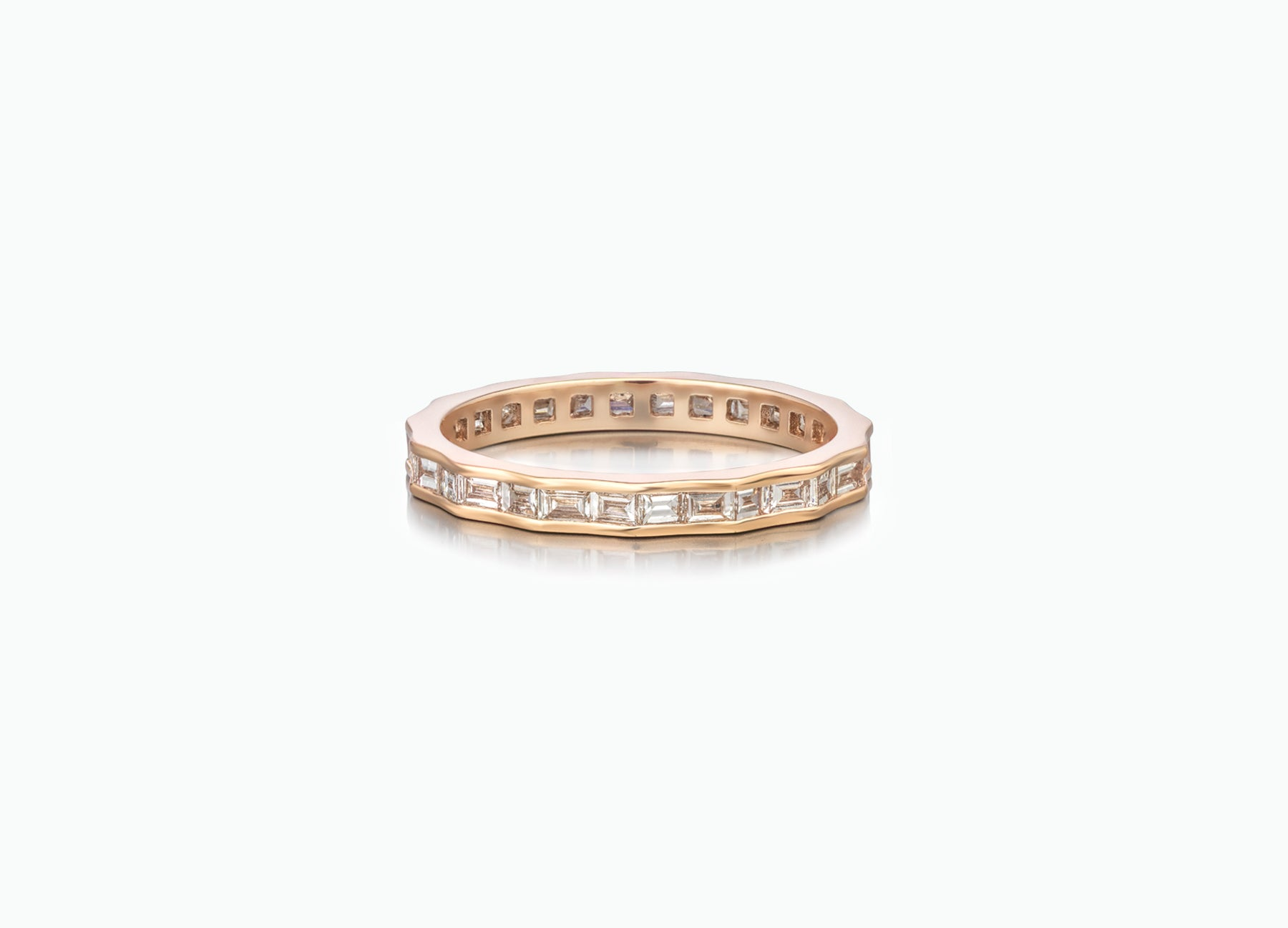 Contemporary Pleat Eternity Wedding Band by Tomasz Donocik set with baguette diamonds all around by Tomasz Donocik front view