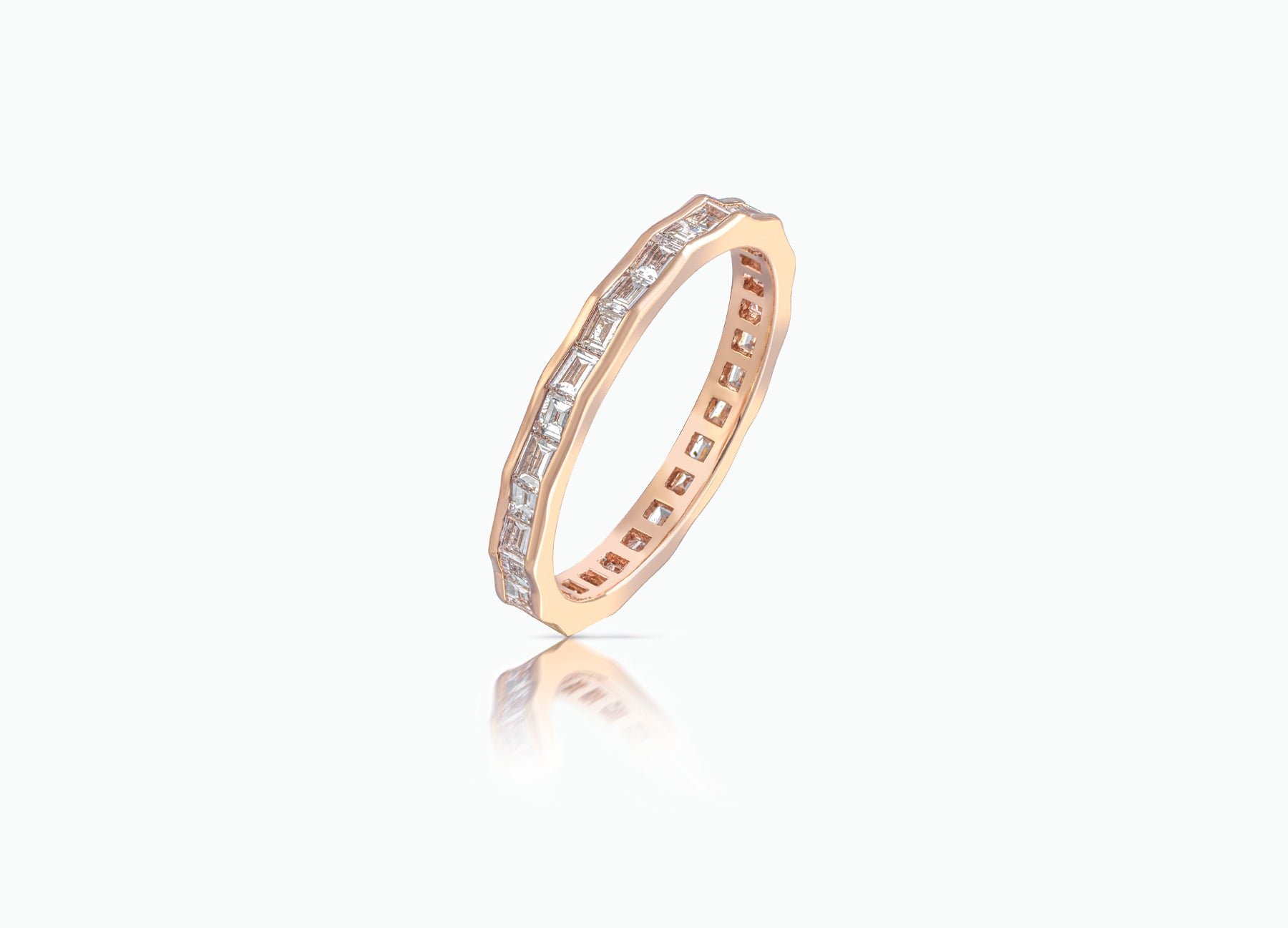 Contemporary Pleat Eternity Wedding Band by Tomasz Donocik set with baguette diamonds all around by Tomasz Donocik side view