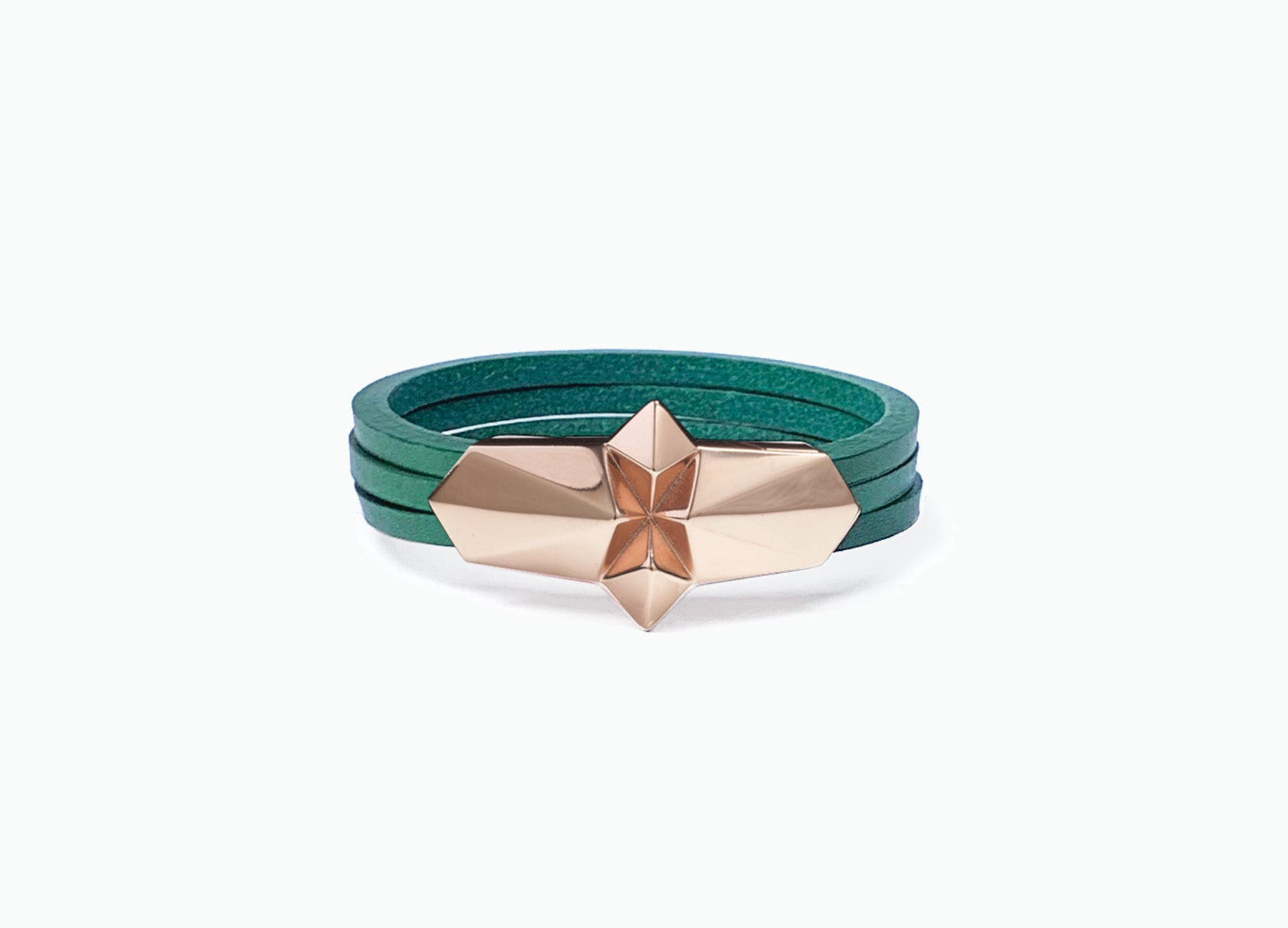 Leather Wrap Shard Bracelet with a rose gold silver plated clasp in Racing Green fine Italian leather by Tomasz Donocik.