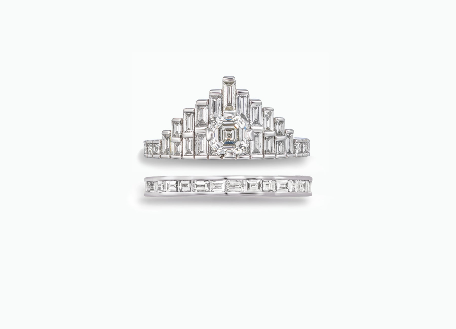 BESPOKE ROYAL ASSCHER BRIDAL RING SET