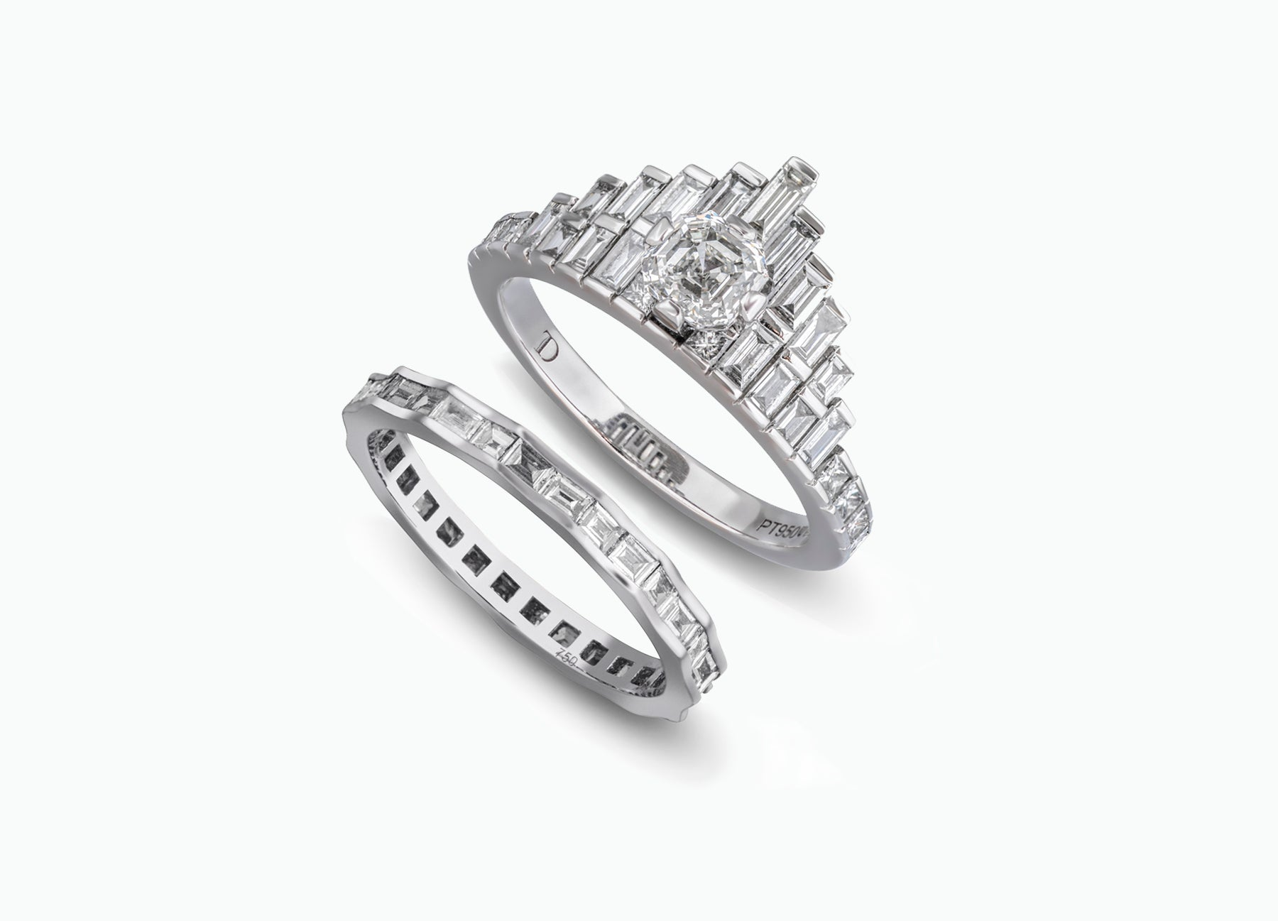 ROYAL ASSCHER BRIDAL RING SET IN WHITE GOLD
