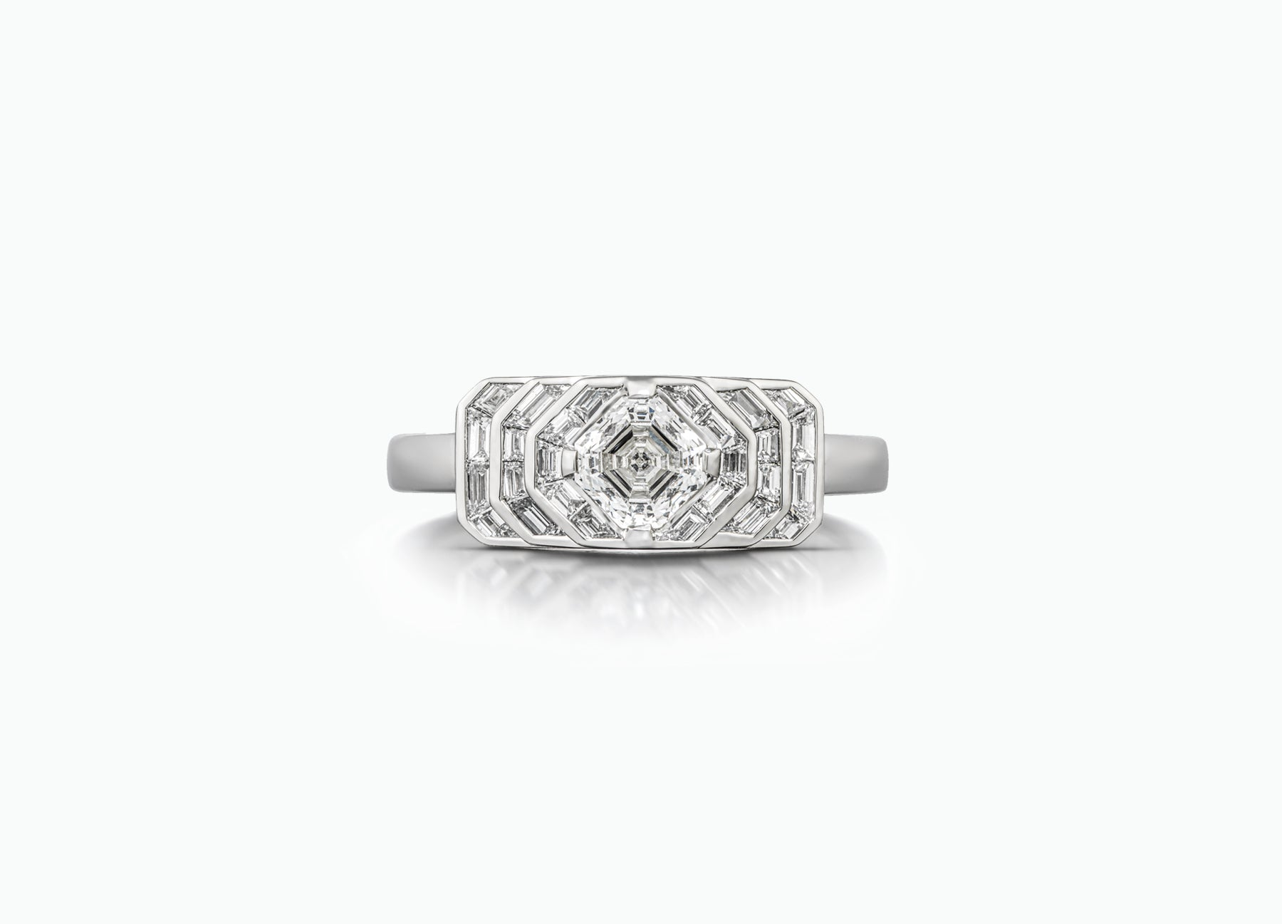 Palace Deco diamond engagement ring with an Asscher cut centre diamond by Tomasz Donocik Front View