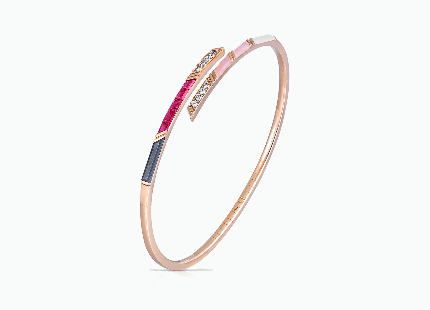 Ruby diamond and pink opal bangle in 18K rose gold by Tomasz Donocik Side View