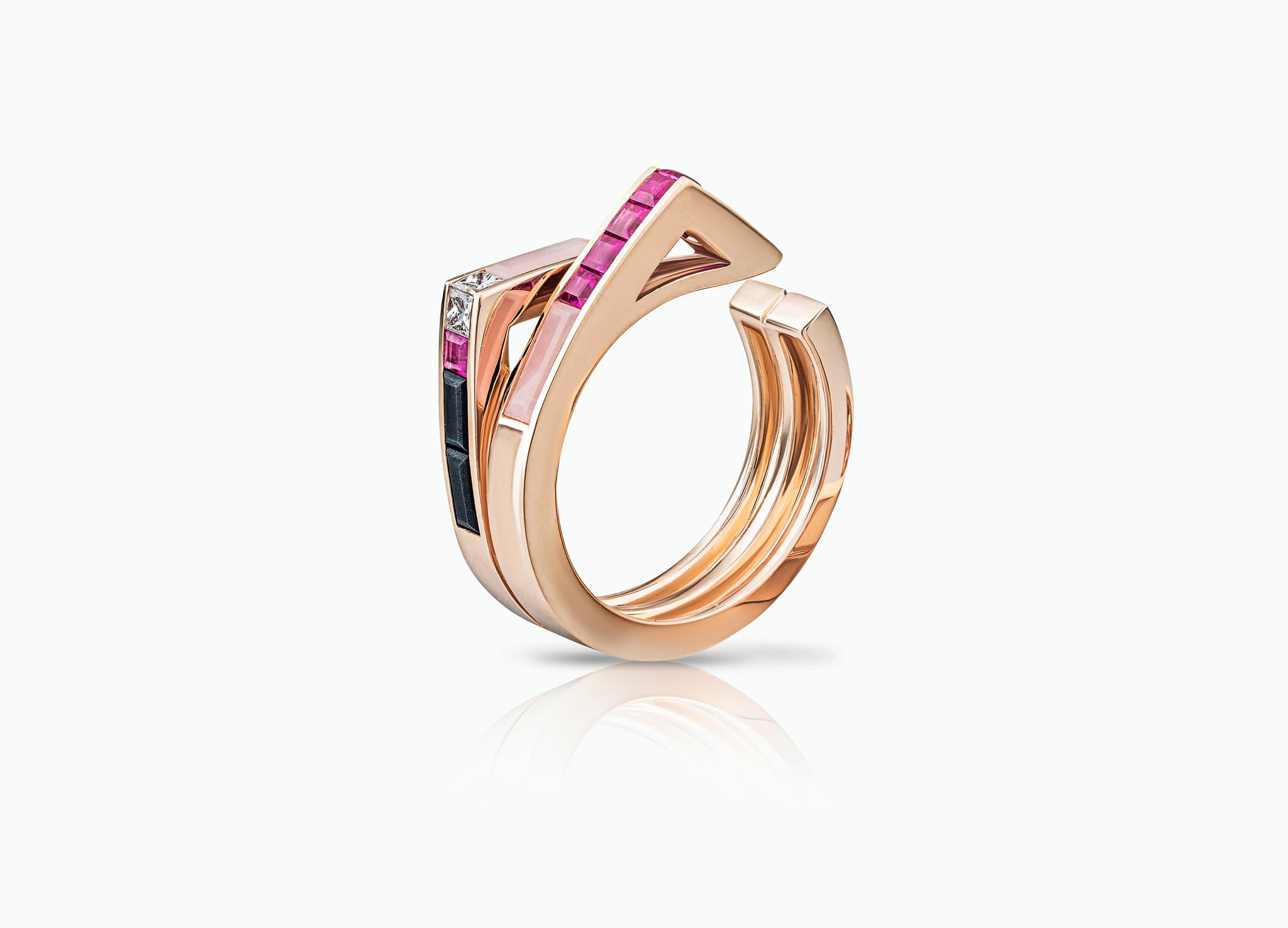STELLAR TWO ROW BAND RING