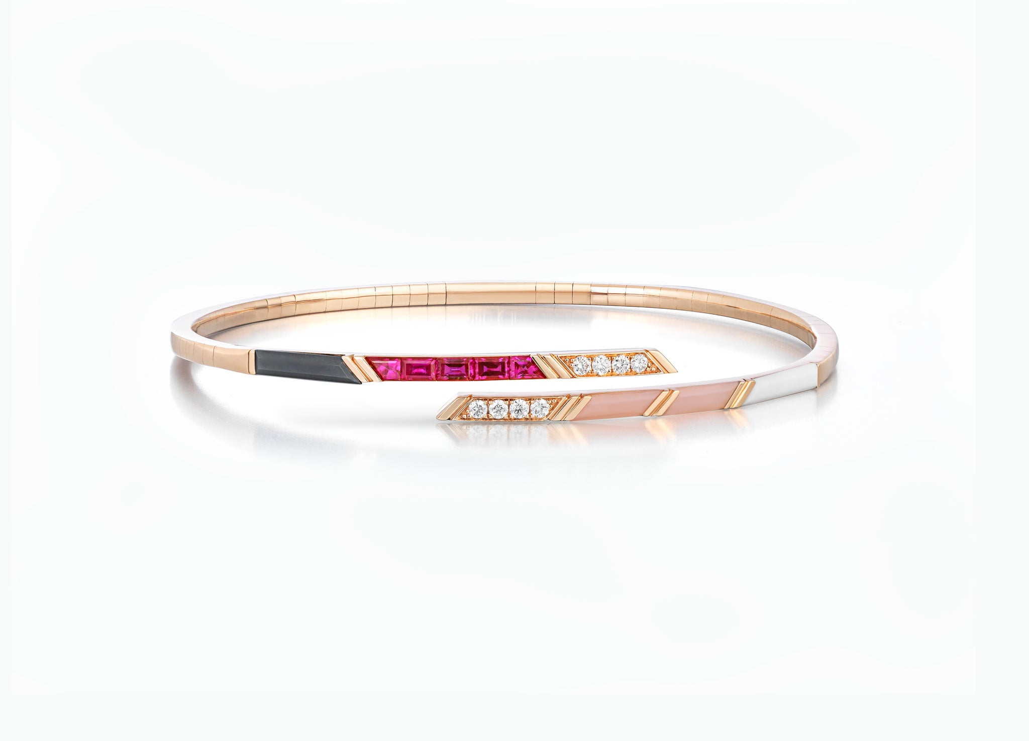 Ruby diamond and pink opal bangle in 18K rose gold by Tomasz Donocik front view