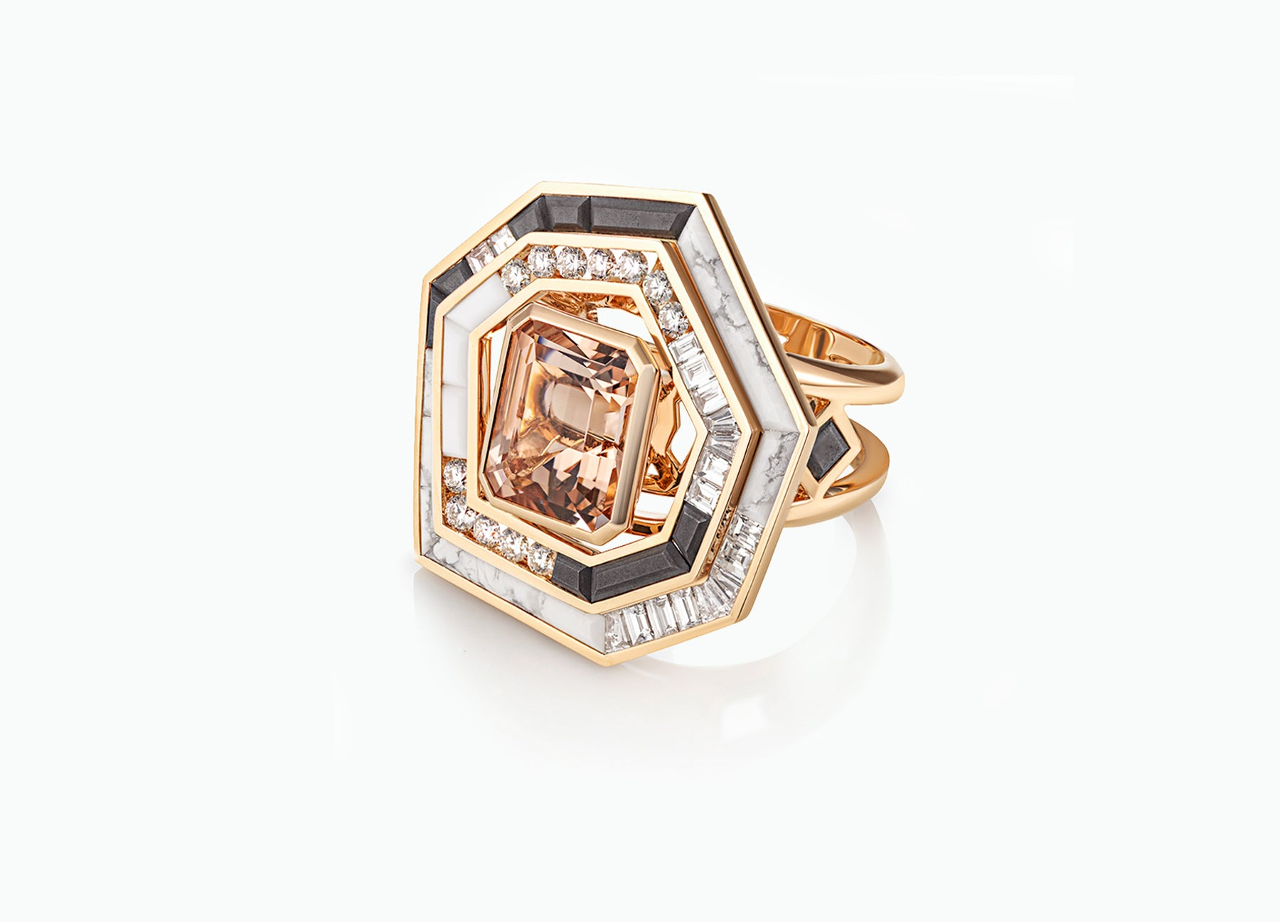 STELLAR DUSK MORGANITE COCKTAIL HALO RING