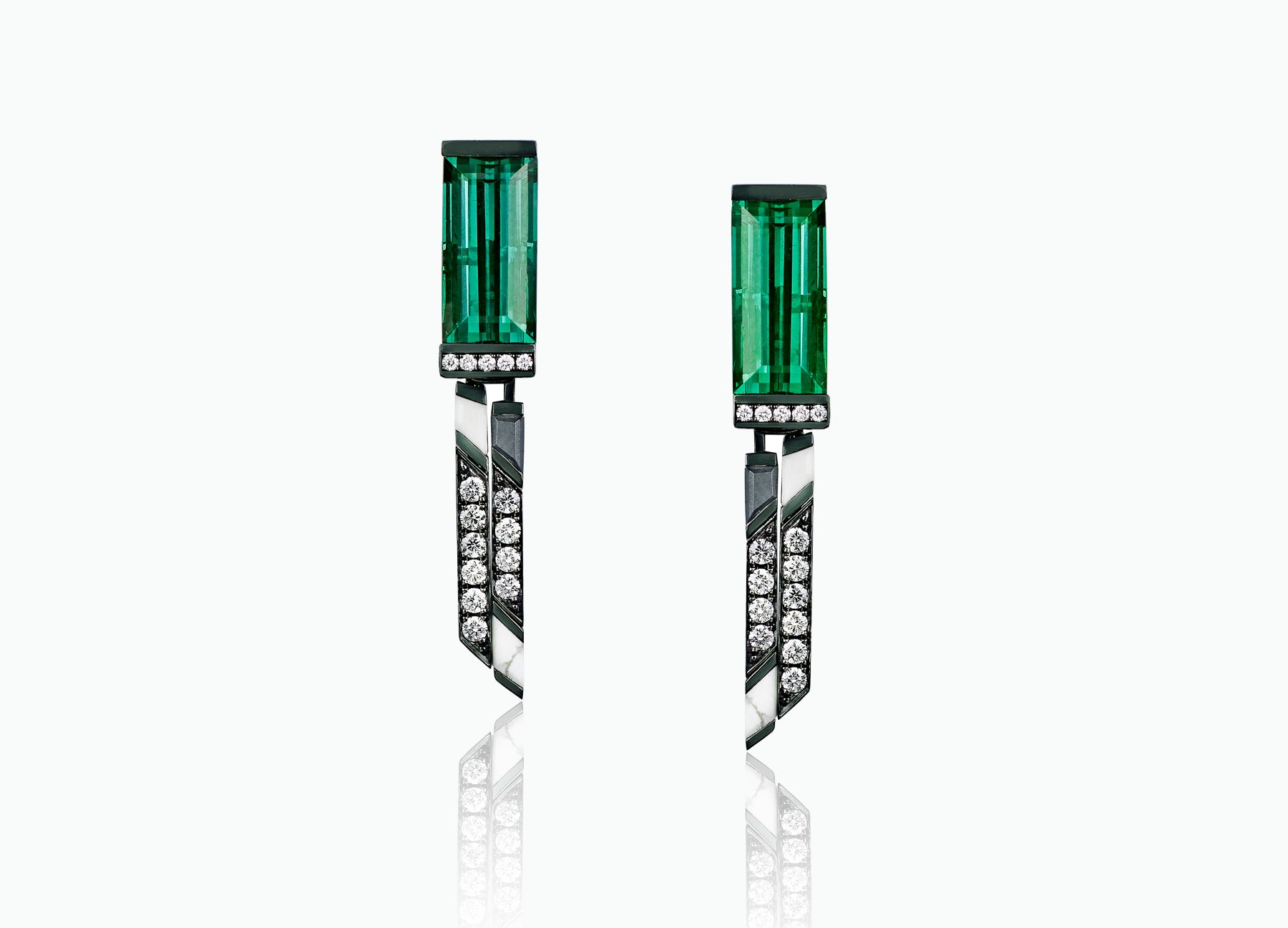 ART DECO LARGE TOURMALINE STUDS WITH DOUBLE DROP TASSELS