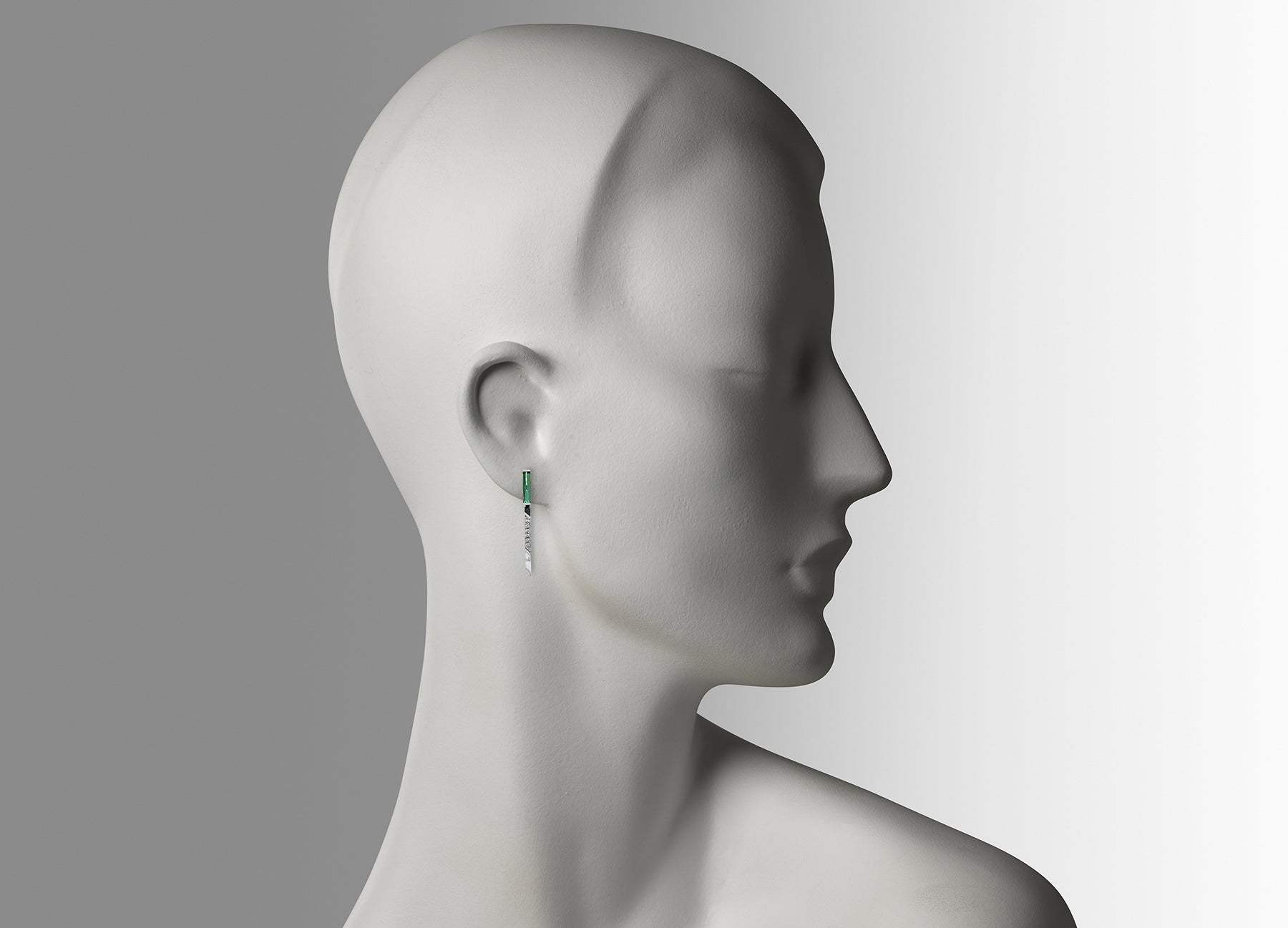 ART DECO TOURMALINE STUDS WITH WHITE GOLD SINGLE DROP TASSELS