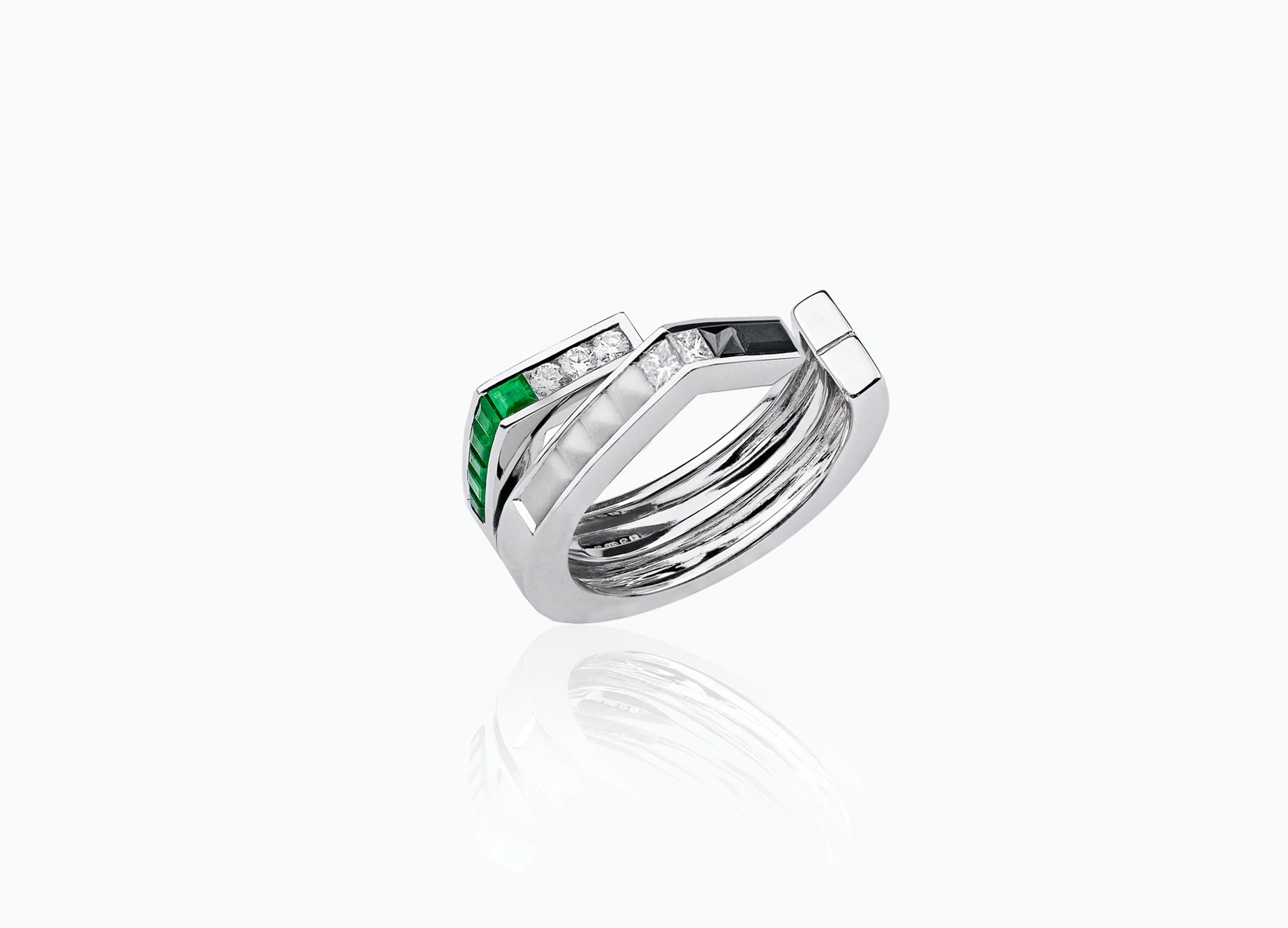 ART DECO 2-ROW BAND RING