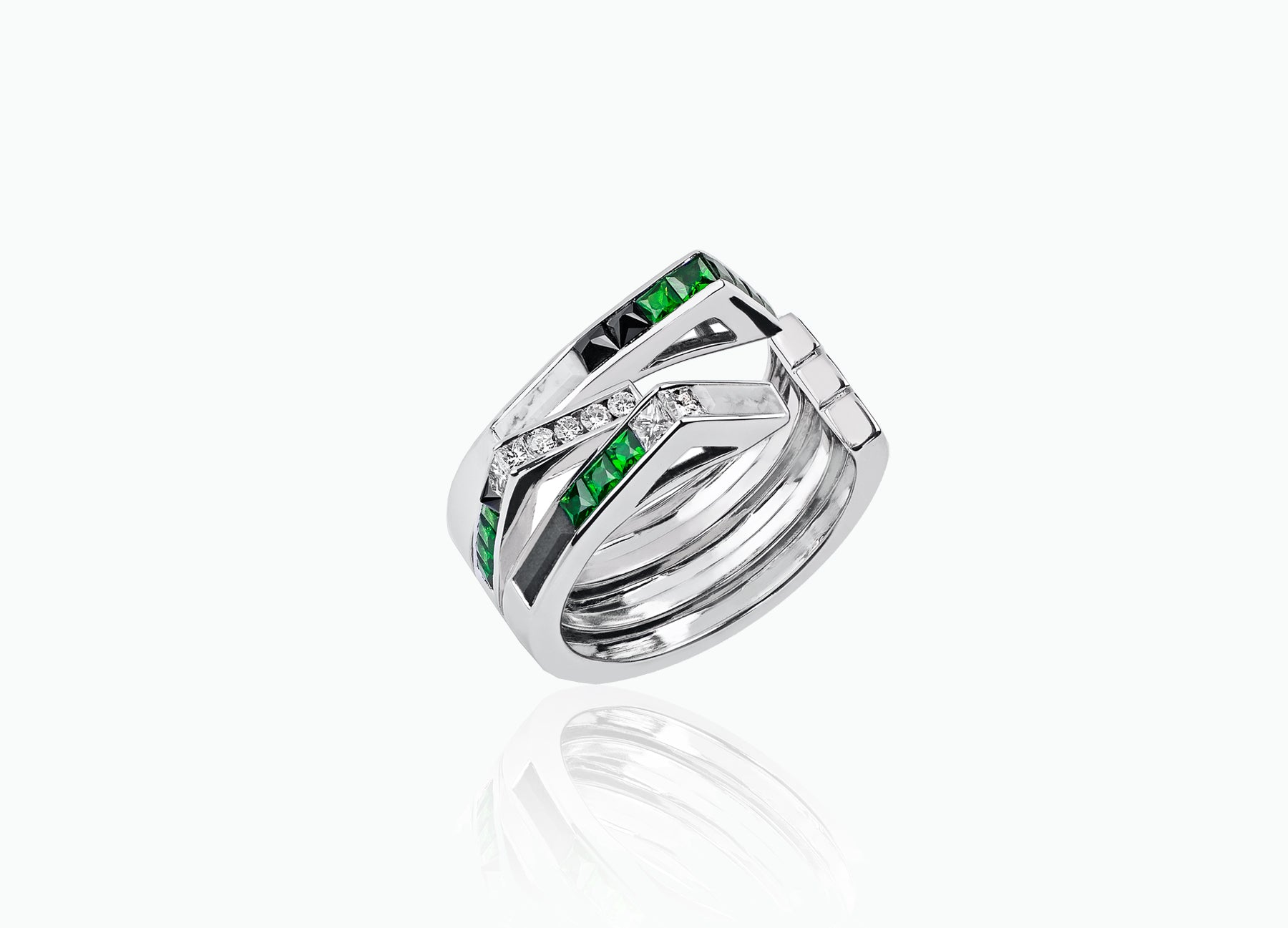 ART DECO STELLAR 3-ROW BAND RING