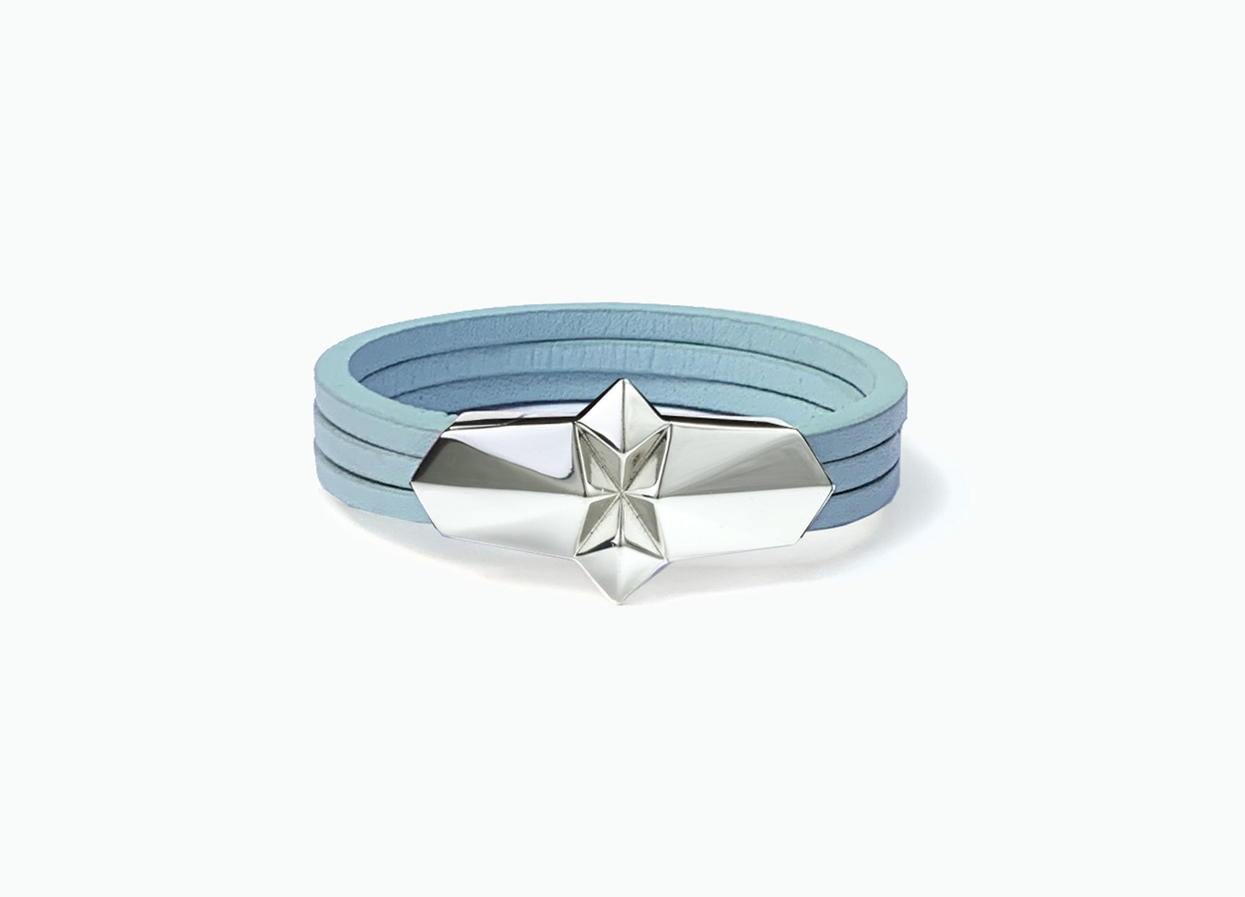 Leather Wrap Shard Bracelet with a white gold silver plated clasp in Babyl Blue fine Italian leather by Tomasz Donocik.