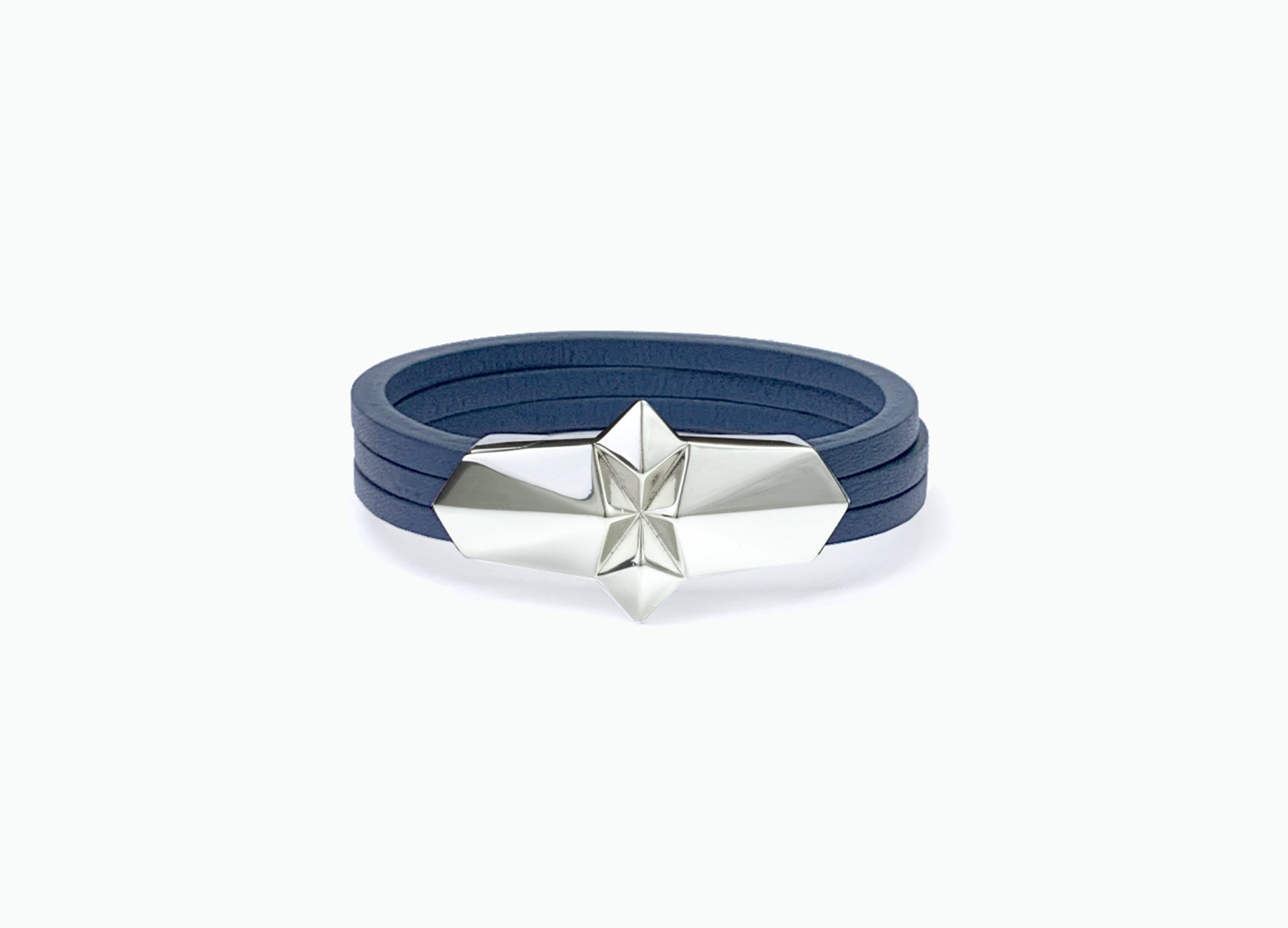 Leather Wrap Shard Bracelet with a white gold silver plated clasp in Royal Blue fine Italian leather by Tomasz Donocik.