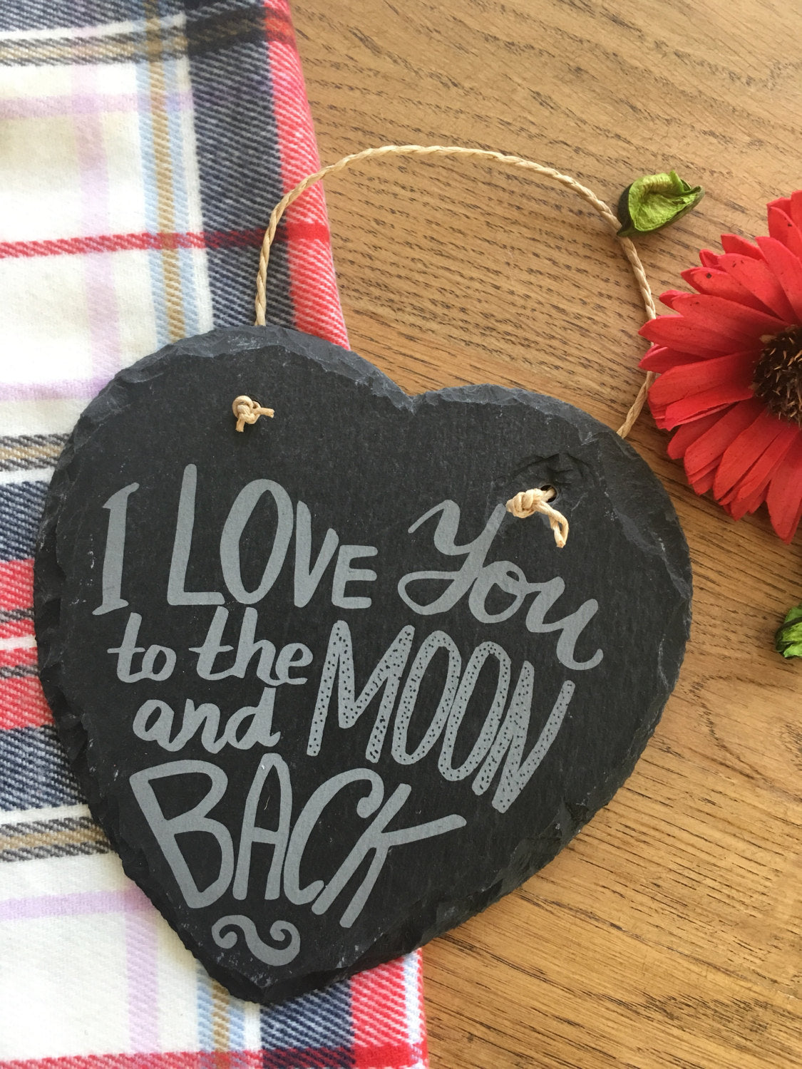 Engraved Slate Heart 'I love you to the moon and back' valentines gift