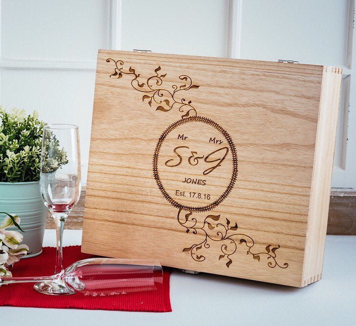 Personalised Engraved Triple Wooden Wine Box/Alcohol Gift Box/Perfect Wedding Gift/Any Occasion Gift/Engraved Wood Box/Personalised Keepsake