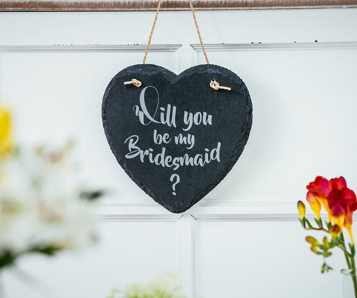 Will you be my flowergirl or bridesmaid slate heart gift