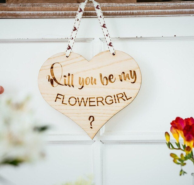 Will you be my bridesmaid or flower girl engraved wood heart