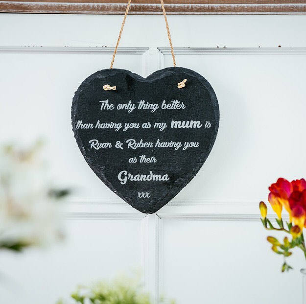 Engraved slate heart for Mother's Day