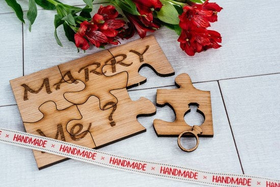 Engraved Marry Me Puzzle in Wood/Proposal Idea/Proposal Keepsake/Pop out Ring