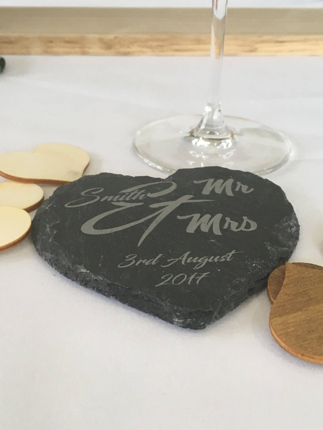 Personalised engraved heart slate coaster Mr & Mrs