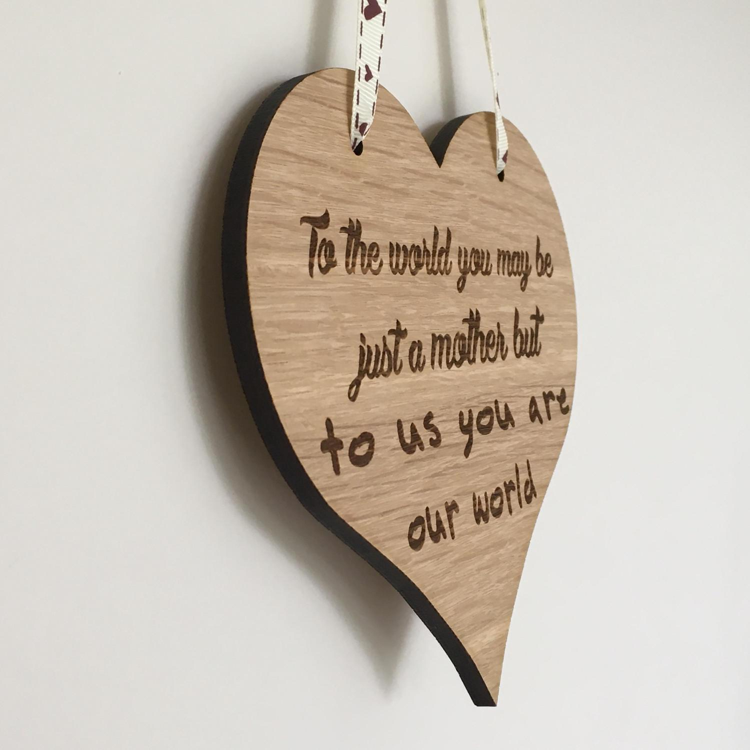 Engraved wooden heart Mother's Day