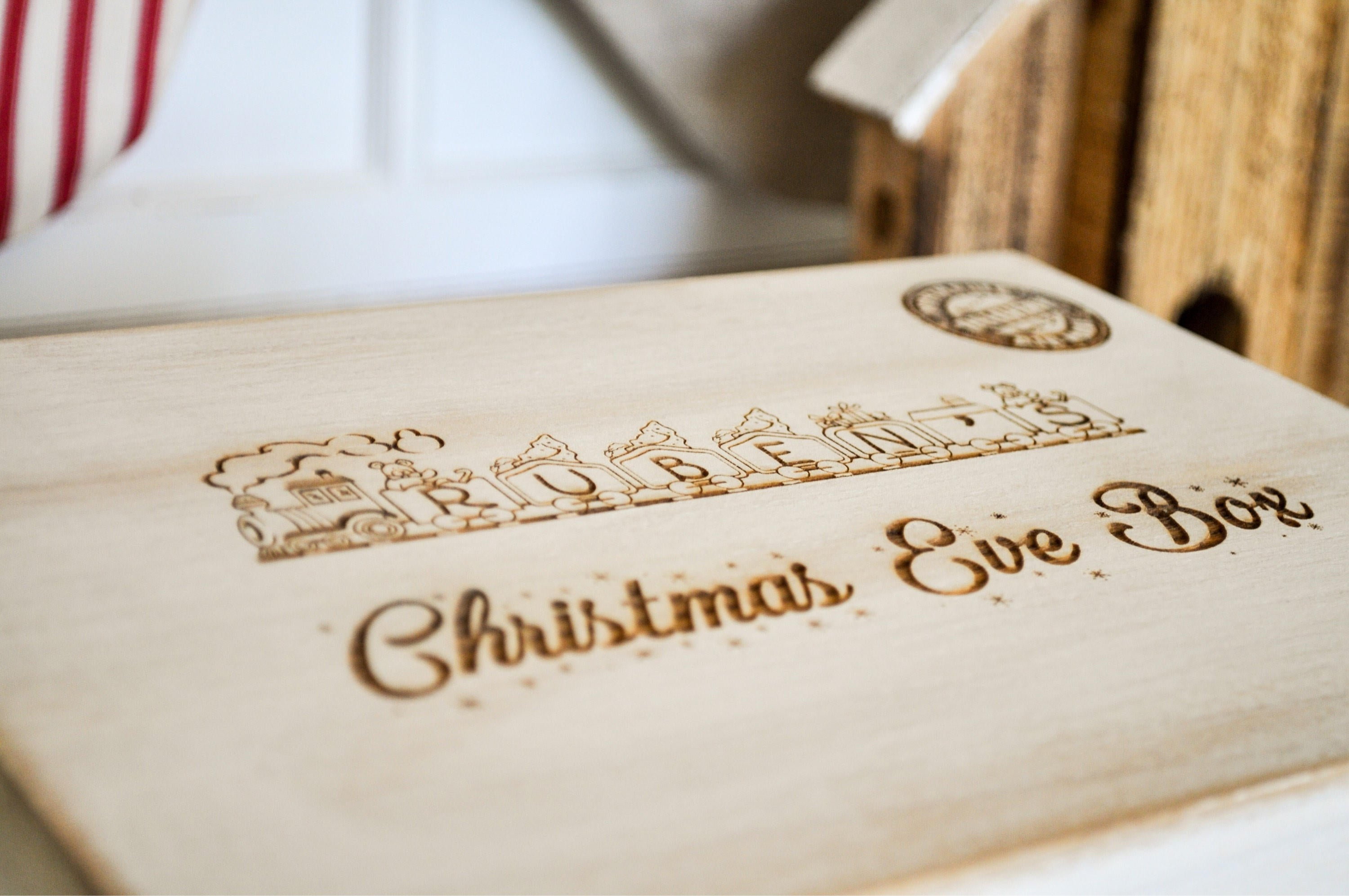 Personalised Christmas Eve Box/Train/Rustic White Box/Memory Box/Christmas Eve Idea/Christmas Tradition/Personalised Wooden Box/Memory Box