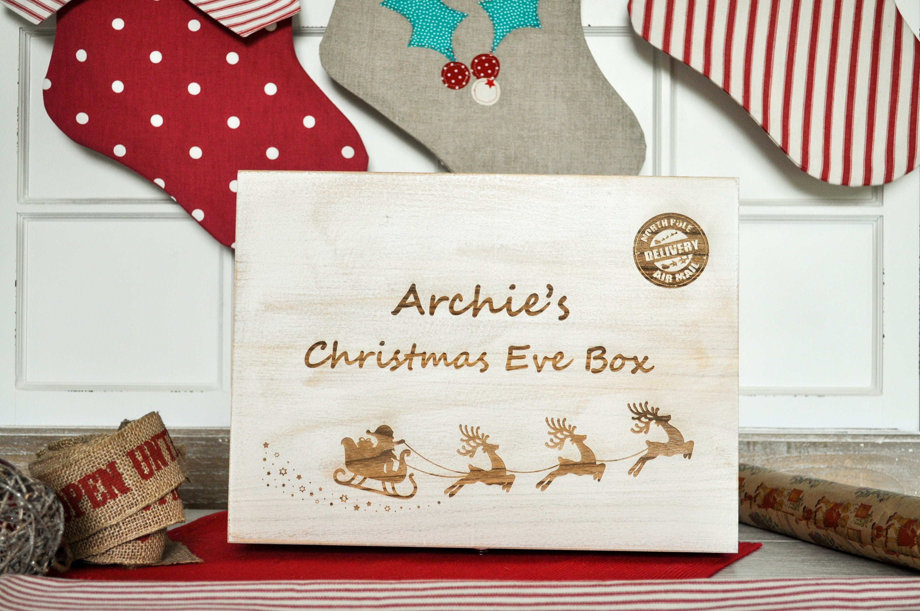 Engraved Christmas Eve Box - Personalised Santa Sleigh & Reindeer Design