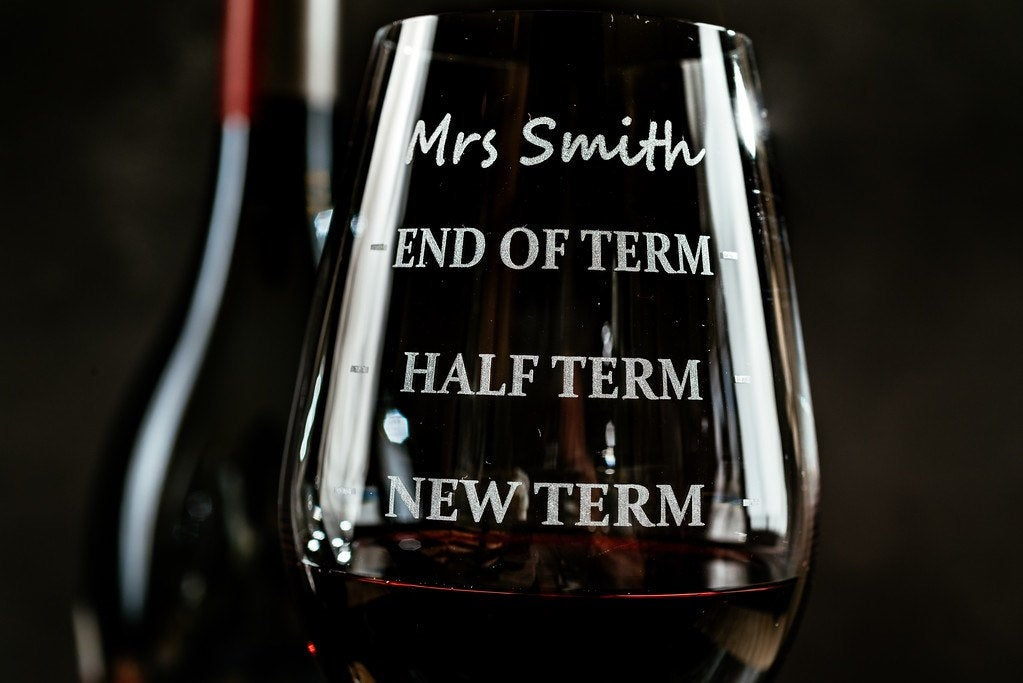 Personalised Name Etched Glass Present - Best Teacher Appreciation Funny Gag Gift - Engraved Wine Glass - Custom Teacher Wine Glass -
