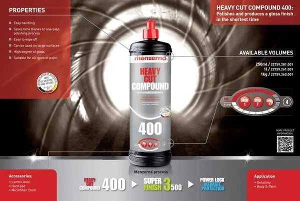 Buy Menzerna 400 Heavy Cut Compound in the Custom Car Care webshop.