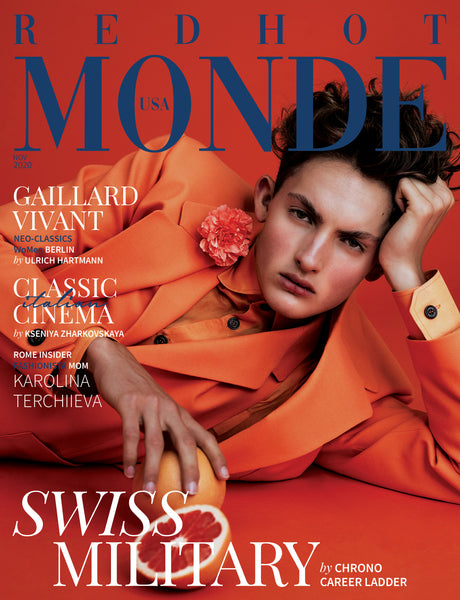 Fashion Magazin Cover Editorial Fashion Photography orange menswear suit made in Berlin