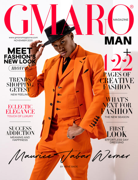 Fashion Magazin Cover High fashion Designer suit orange colored made in Berlin