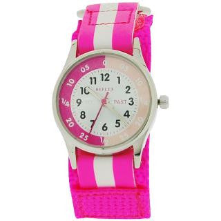 Reflex Time Teacher Hot Pink & White Easy Fasten Girls Childrens Watch REFK0006