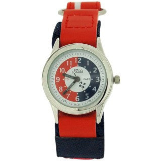 Relda Time Teacher Red & Navy Velcro Strap Boys Girls Childrens Watch REL07