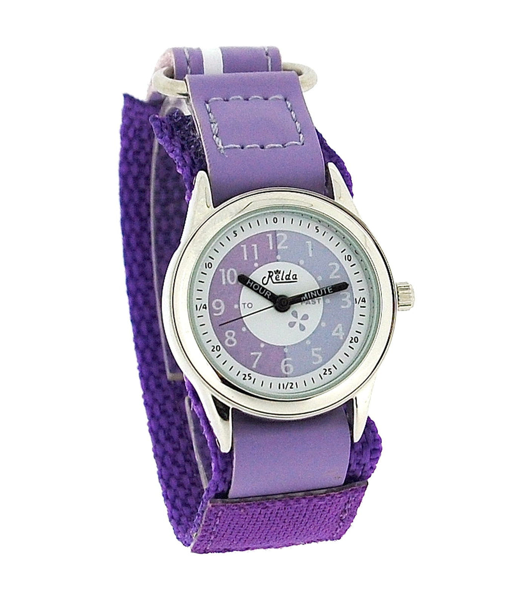 Relda Time Teacher Lilac & Purple Velcro Strap Boys Girls Childrens Watch REL08