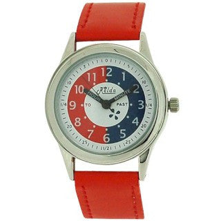 Relda Time Teacher White Dial Quartz Kids Childrens Red PU Strap Watch REL11
