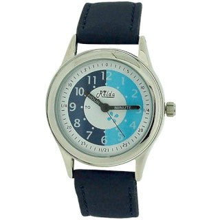 Relda Time Teacher White Dial Quartz Kids Childrens Navy PU Strap Watch REL12