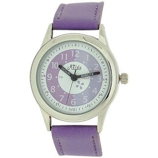 Relda Time Teacher White Dial Quartz Kids Childrens Lilac PU Strap Watch REL13