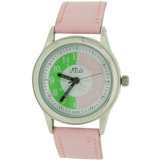 Relda Time Teacher White Dial Quartz Kids Childrens Pink PU Strap Watch REL14