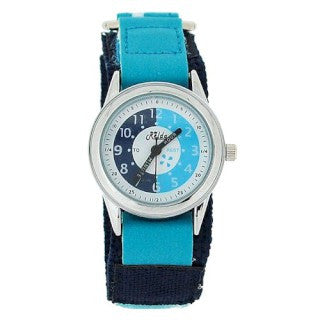 Relda Time Teacher Light Blue Navy Velcro Strap Boys Girls Childrens Watch REL15