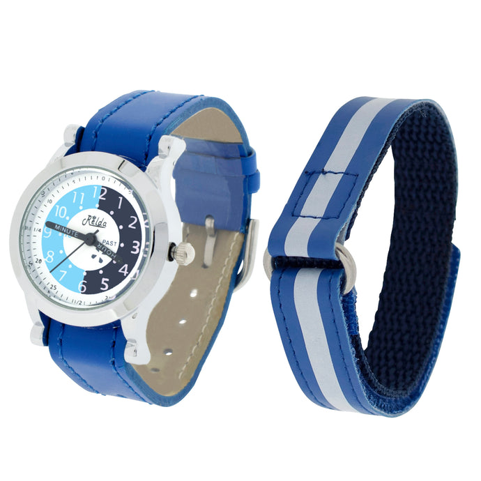 Relda Time Teacher Blue 2 Straps Twin Strap Kids Boys Watch + Award Gift Set