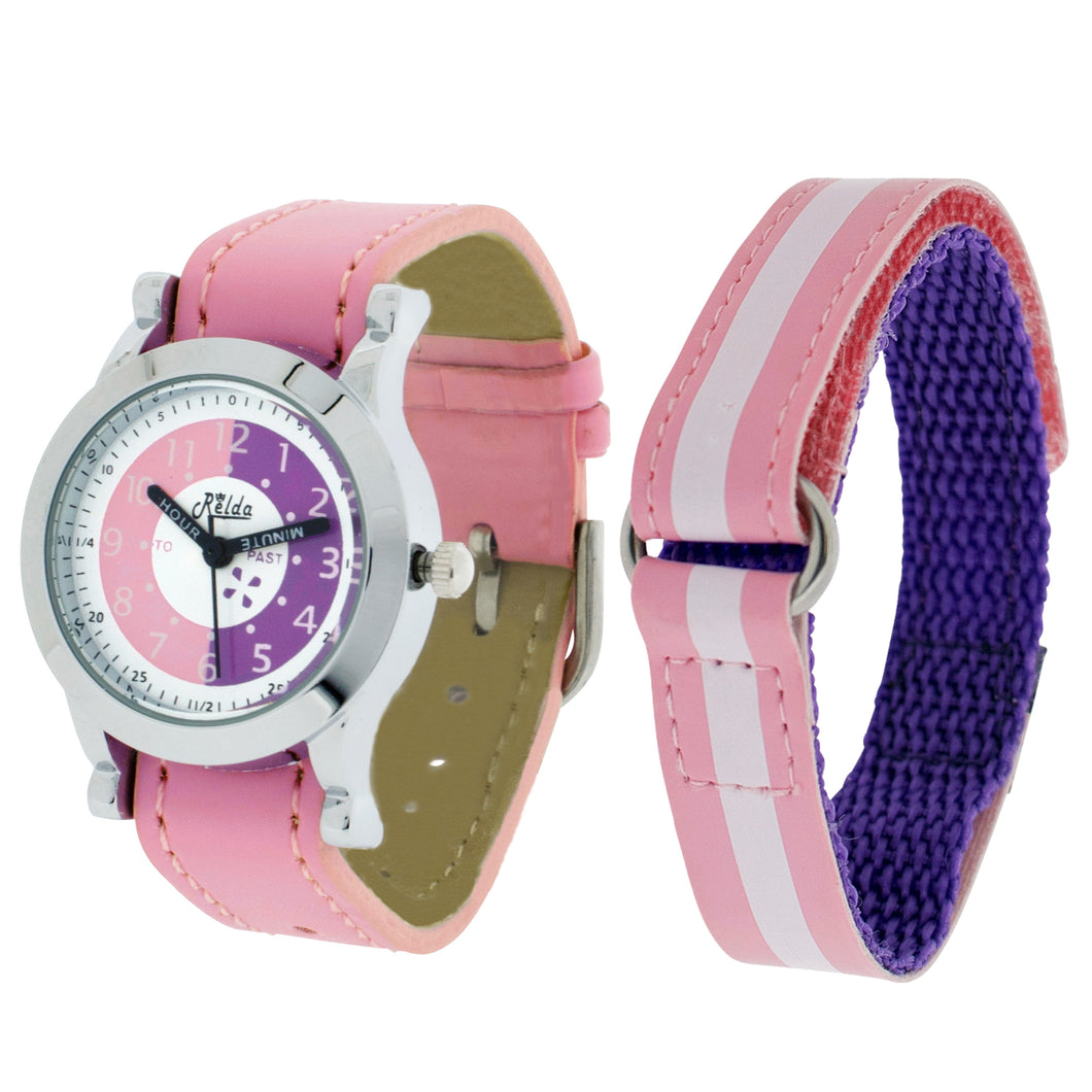 Relda Time Teacher Pink 2 Straps Twin Strap Kids Girls Watch + Award Gift Set