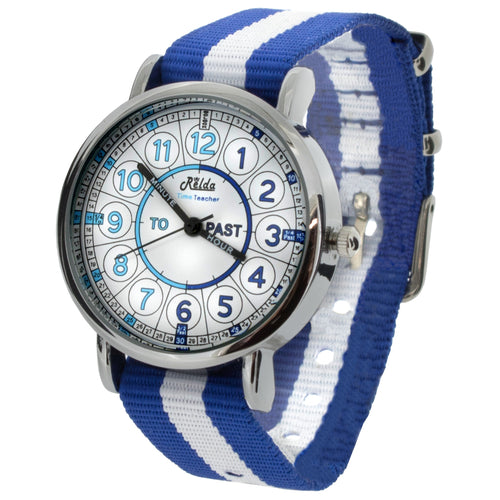 Relda Time Teacher Teaching Quick Learn Blue Fabric Strap Kids Boys Watch REL112