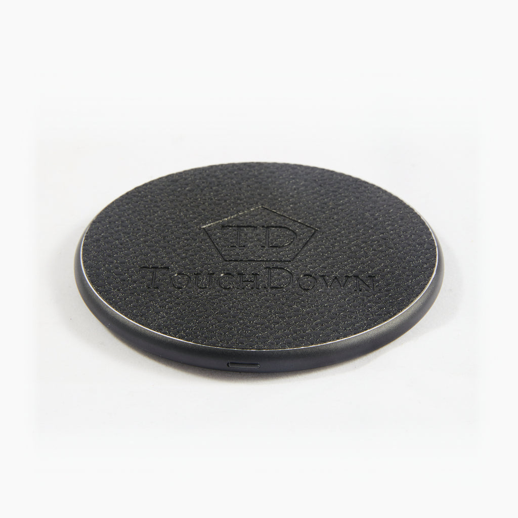 Circular Leather Charging Pad - Business Edition - Silver-Charging Pad-TouchDown Charging-Black-TouchDown Charging