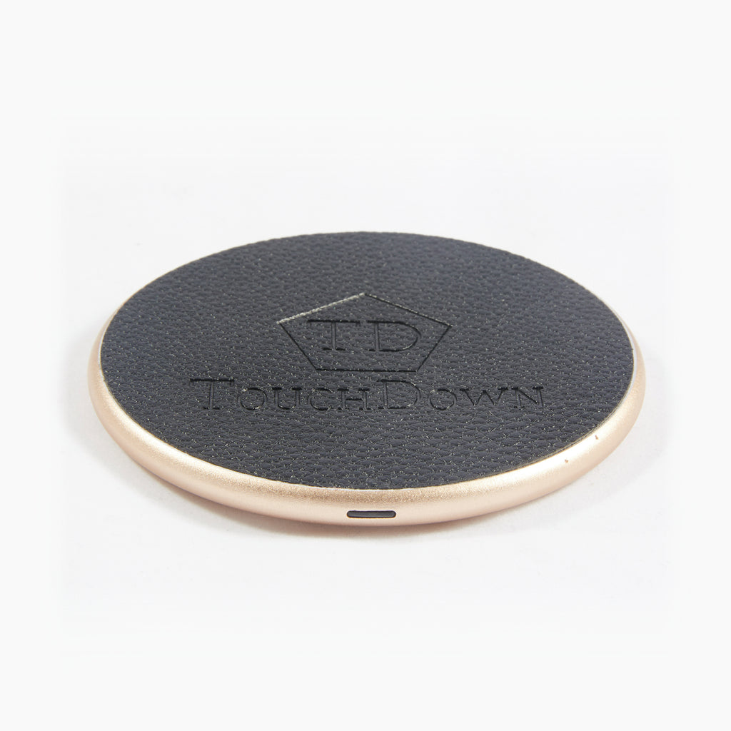 Circular Leather Charging Pad - Business Edition - Black-Charging Pad-TouchDown Charging-Rose Gold-TouchDown Charging