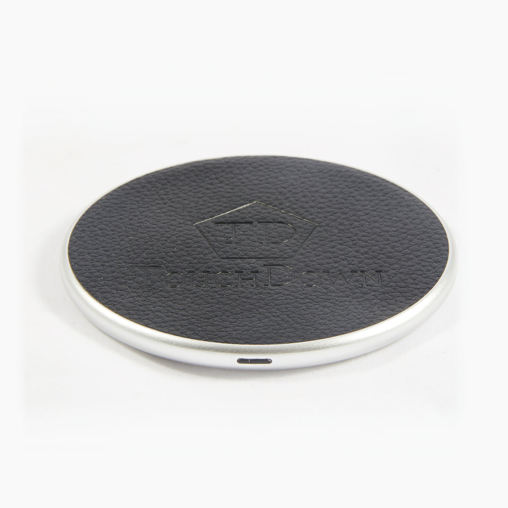 Circular Leather Charging Pad - Business Edition - Black-Charging Pad-TouchDown Charging-Silver-TouchDown Charging