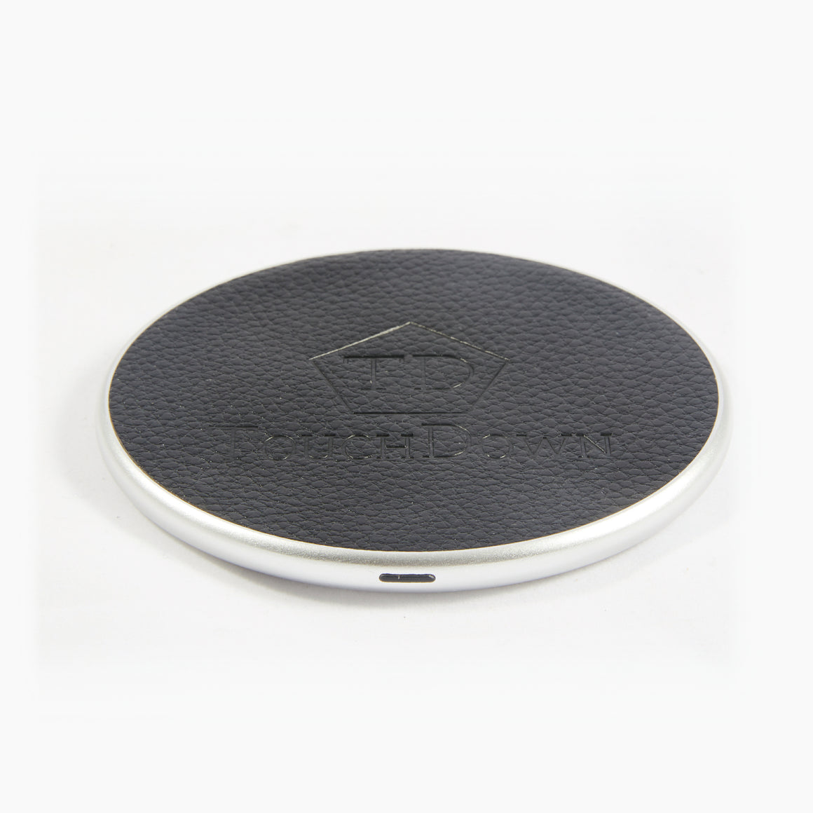 Circular Leather Charging Pad - Business Edition - Silver - TouchDown Charging